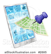 Vector Illustration of a Mobile Phone, Pin and Map by AtStockIllustration