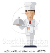 Vector Illustration of a Modern Design Male Chef Holding a Cloth Napkin and Cloche Platter by AtStockIllustration