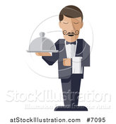 Vector Illustration of a Modern Design Male Waiter with a Curling Mustache, Holding a Cloth Napkin and Cloche Platter by AtStockIllustration