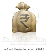 Vector Illustration of a Money Bag with a Rupee Symbol and Reflection by AtStockIllustration