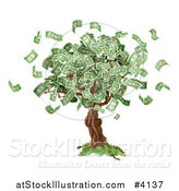Vector Illustration of a Money Tree with Cash Falling off by AtStockIllustration