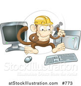 Vector Illustration of a Monkey in a Hardhat Working on a Computer to Construct a Website by AtStockIllustration