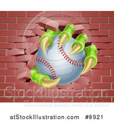 Vector Illustration of a Monster Claws Holding a Baseball and Breaking Through a Brick Wall by AtStockIllustration