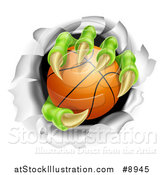 Vector Illustration of a Monster Claws Holding a Basketball and Ripping Through a Wall by AtStockIllustration