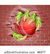 Vector Illustration of a Monster Claws Holding a Cricket Ball and Breaking Through a Brick Wall by AtStockIllustration