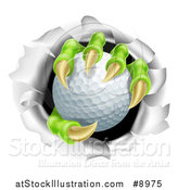 Vector Illustration of a Monster Claws Holding a Golf Ball and Ripping Through a Wall by AtStockIllustration