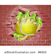 Vector Illustration of a Monster Claws Holding a Tennis Ball and Breaking Through a Brick Wall by AtStockIllustration