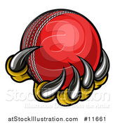 Vector Illustration of a Monster or Eagle Claws Holding a Cricket Ball by AtStockIllustration