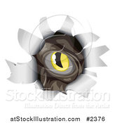 Vector Illustration of a Monsters Eye Peeking Through a Ripped Hole by AtStockIllustration