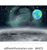 Vector Illustration of a Moon Landscape with Earth and Stars in the Background by AtStockIllustration