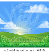 Vector Illustration of a Morning Sunrise over a Green Hilly Landscape with Puffy Clouds and Grasses by AtStockIllustration