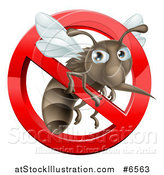 Vector Illustration of a Mosquito Trapped in a Prohibited Symbol by AtStockIllustration