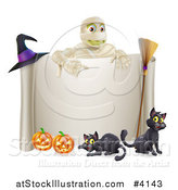 Vector Illustration of a Mummy over a Halloween Scroll Sign Black Cats and Pumpkins by AtStockIllustration