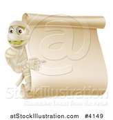 Vector Illustration of a Mummy Pointing to a Halloween Scroll Sign by AtStockIllustration