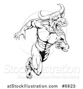 Vector Illustration of a Muscular Aggressive Black and White Bull Man Monster Sprinting Upright by AtStockIllustration