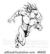 Vector Illustration of a Muscular Aggressive Black and White Stallion Horse Man Running by AtStockIllustration