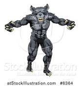 Vector Illustration of a Muscular Aggressive Black Wolf Man Attacking by AtStockIllustration