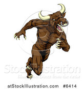 Vector Illustration of a Muscular Aggressive Brown Bull Man Mascot Running Upright by AtStockIllustration