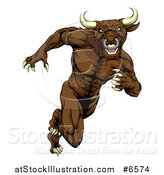 Vector Illustration of a Muscular Aggressive Brown Bull Man Mascot Sprinting Upright by AtStockIllustration