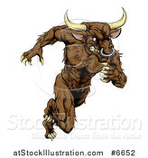 Vector Illustration of a Muscular Aggressive Brown Bull Man Monster Sprinting Upright by AtStockIllustration