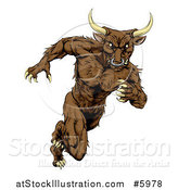 Vector Illustration of a Muscular Aggressive Bull Man Mascot Running Upright by AtStockIllustration