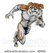 Vector Illustration of a Muscular Aggressive Bulldog Mascot Running Upright by AtStockIllustration