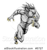 Vector Illustration of a Muscular Aggressive Gray Stallion Horse Man Running by AtStockIllustration
