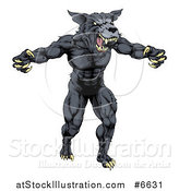 Vector Illustration of a Muscular Angry Aggressive Black Wolf Man Attacking by AtStockIllustration