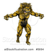 Vector Illustration of a Muscular Angry Lion Man Roaring with Claws Bared by AtStockIllustration