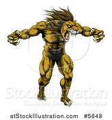 Vector Illustration of a Muscular Angry Lion Roaring with Claws Bared by AtStockIllustration