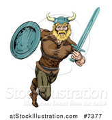 Vector Illustration of a Muscular Blond Viking Warrior Sprinting with a Sword and Shield by AtStockIllustration