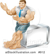 Vector Illustration of a Muscular Body Builder Businessman Bulging out of His Clothes and Gesturing with His Hands While Leaning Against a Cube by AtStockIllustration
