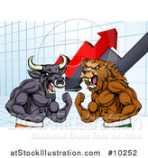 Vector Illustration of a Muscular Brown Bear Man and Angry Bull Ready to Fight over a Graph with Arrows by AtStockIllustration