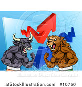 Vector Illustration of a Muscular Brown Bear Man and Bull Ready to Fight over a Graph with Arrows by AtStockIllustration