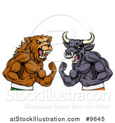 Vector Illustration of a Muscular Brown Bear Man and Bull Ready to Fight, Stock Market Metaphor by AtStockIllustration