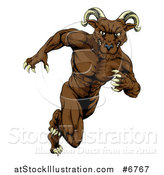 Vector Illustration of a Muscular Brown Ram Monster Man Running Upright by AtStockIllustration