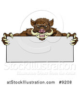 Vector Illustration of a Muscular Brown Razorback Boar Mascot Holding a Blank Sign by AtStockIllustration