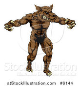 Vector Illustration of a Muscular Brown Wolf Man Attacking by AtStockIllustration