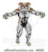 Vector Illustration of a Muscular Bulldog Man Mascot Standing Upright by AtStockIllustration
