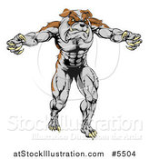 Vector Illustration of a Muscular Bulldog Mascot Standing Upright by AtStockIllustration