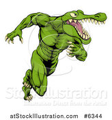 Vector Illustration of a Muscular Crocodile or Alligator Man Sprinting Upright by AtStockIllustration