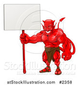 Vector Illustration of a Muscular Devil Holding a Blank Sign by AtStockIllustration