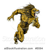 Vector Illustration of a Muscular Fierce Sprinting Lion Man Mascot by AtStockIllustration