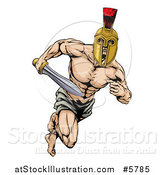 Vector Illustration of a Muscular Gladiator in a Helmet Running with a Sword by AtStockIllustration