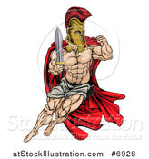 Vector Illustration of a Muscular Gladiator Man in a Helmet Fighting with a Sword and Holding up a Fist by AtStockIllustration