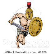Vector Illustration of a Muscular Gladiator Man in a Helmet Running with a Sword and Shield by AtStockIllustration