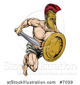 Vector Illustration of a Muscular Gladiator Man in a Helmet Sprinting with a Sword and Golden Shield by AtStockIllustration