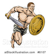 Vector Illustration of a Muscular Gladiator Running with a Sword and Shield by AtStockIllustration