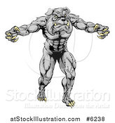 Vector Illustration of a Muscular Gray Bulldog Monster Man Mascot Standing Upright by AtStockIllustration