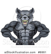 Vector Illustration of a Muscular Gray Wolf Man Mascot Flexing, from the Waist up by AtStockIllustration